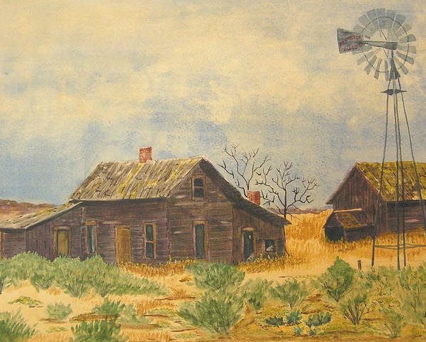 Farm Poster featuring the painting Abandoned Farm by Ally Benbrook