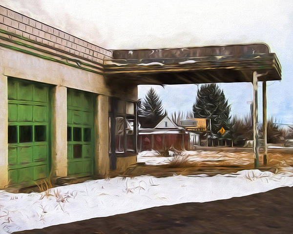 Gas Poster featuring the digital art Abandoned Service Station Painterly Impressions by Nick Gray