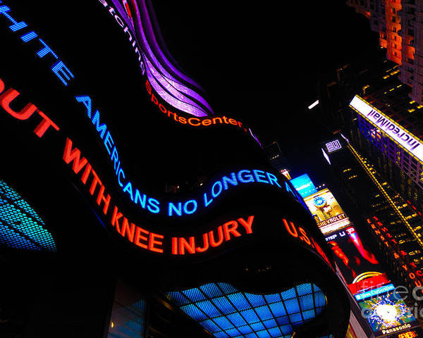 Abc Poster featuring the photograph Abc News Scrolling Marquee In Times Square New York City by Amy Cicconi