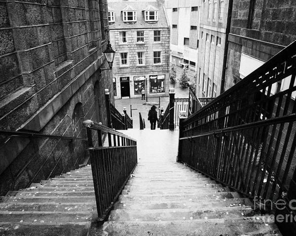 Aberdeen Poster featuring the photograph Aberdeen Union Street Back Wynd Stairs Scotland Uk by Joe Fox