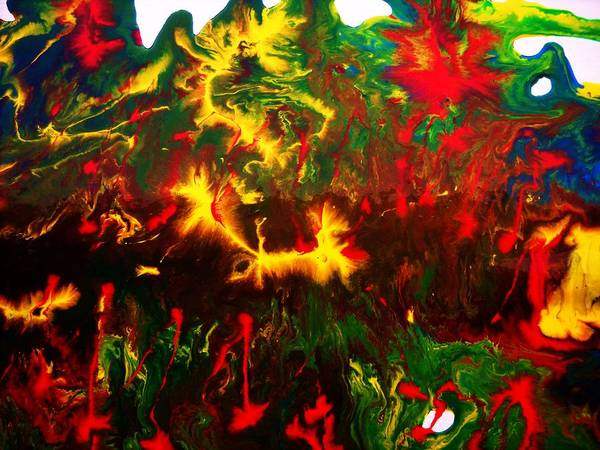 Abstract-intense- Poster featuring the painting Abnormal by Adolfo hector Penas alvarado
