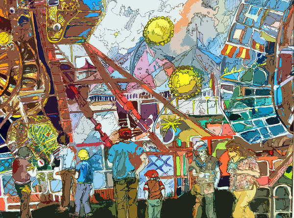 Amusement Poster featuring the painting Abstract Amusement Park by Mindy Newman