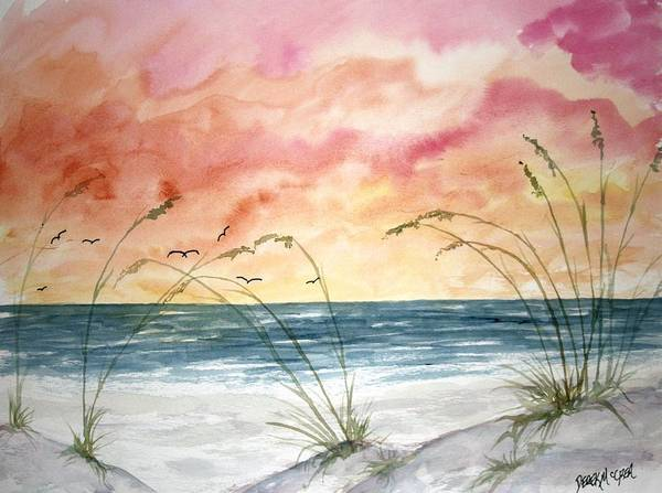 Abstract Poster featuring the painting Abstract Beach Painting by Derek Mccrea