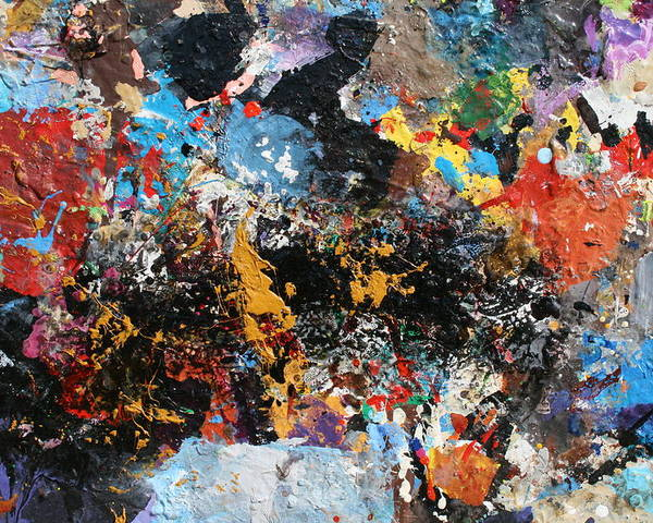 Abstract Oll Collage Blasting With Intense Color Explosion Blues Poster featuring the painting Abstract Blast by Melinda Saminski