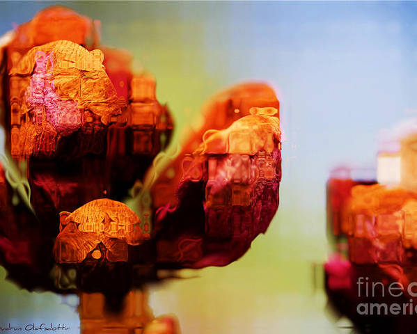 Abstract Poster featuring the photograph Abstract Flowers by Agusta Gudrun Olafsdottir