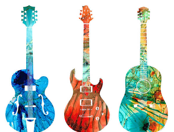 Guitar Poster featuring the painting Abstract Guitars by Sharon Cummings by Sharon Cummings