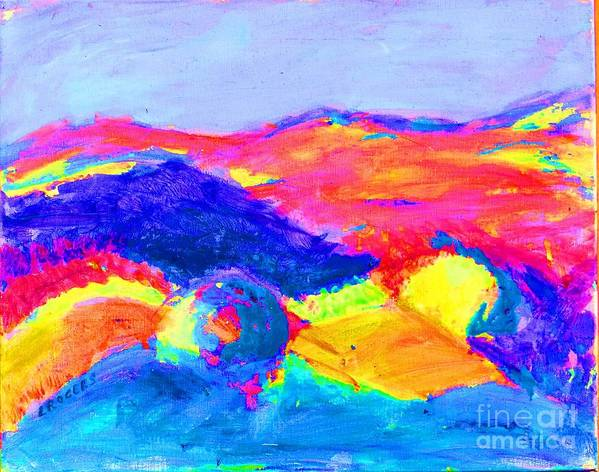 Abstract Landscape Poster featuring the painting Abstract Hills by Lynn Rogers