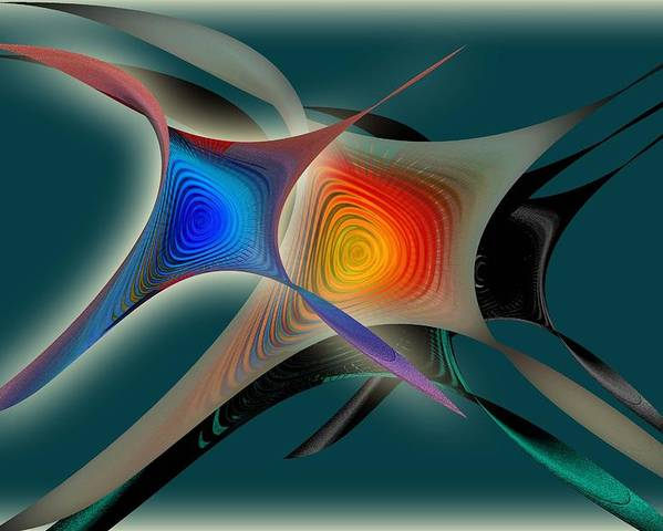 Abstract Poster featuring the digital art Abstract by Iris Gelbart