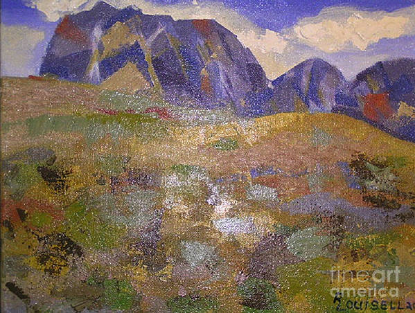Abstract Poster featuring the painting Abstract Mountain Landscape by Robyn Louisell