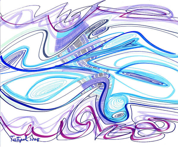 Abstract Poster featuring the drawing Abstract Pen Drawing Forty-two by Lynne Taetzsch