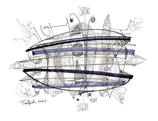Abstract Poster featuring the drawing Abstract Pen Drawing Thirty-four by Lynne Taetzsch