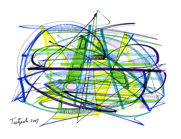 Abstract Poster featuring the drawing Abstract Pen Drawing Thirty by Lynne Taetzsch