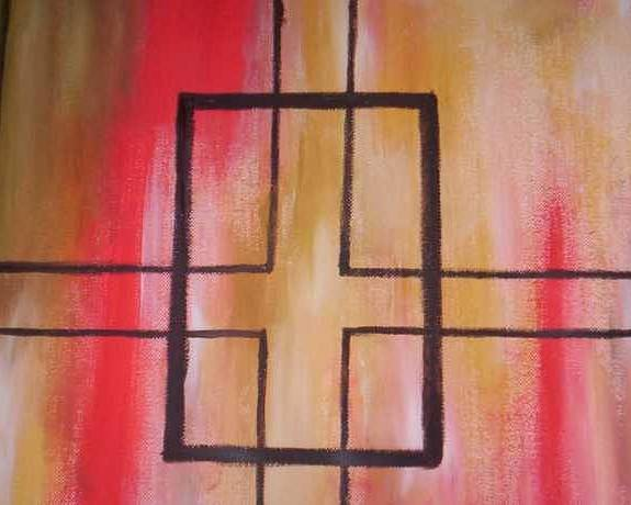 Poster featuring the painting Abstract Squares by Becca Haney