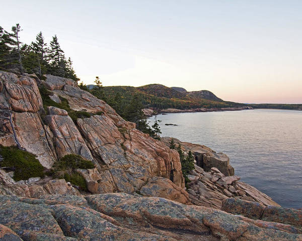 Landscapes Poster featuring the photograph Acadia Cliffs by Alexander Mendoza