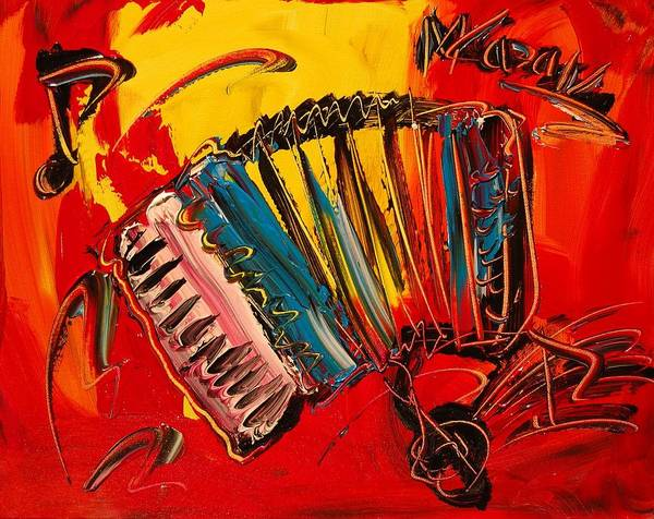 Landscape Framed Prints Poster featuring the painting Accordeon by Mark Kazav
