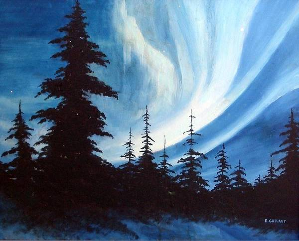 Landscape Poster featuring the painting Actic Aurora by Rick Gallant