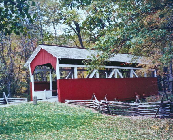 Pictures Of Covered Bridges Poster featuring the photograph Adam Millers Bridge by Penny Neimiller