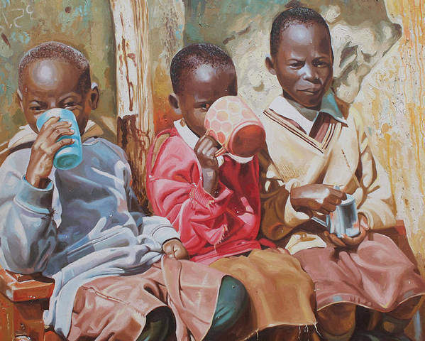 Figurative Poster featuring the painting Adamfo Pa, Best Of Friends by Cornelius Annor