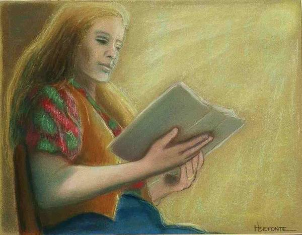 Sitting Figure Poster featuring the pastel Adele Reading by Helen O Hara