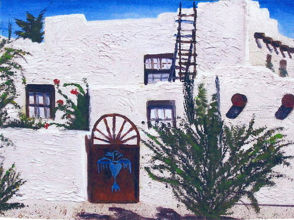 Adobe House Poster featuring the painting Adobe House by Deena Greenberg