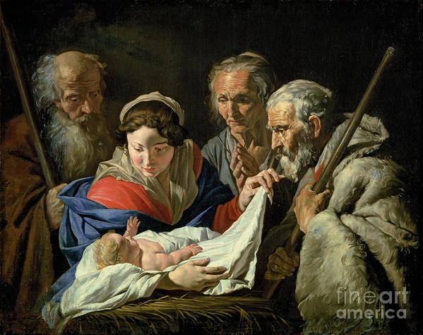 Nativity Poster featuring the painting Adoration Of The Infant Jesus by Stomer Matthias