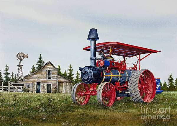 Advance Rumely Poster featuring the painting Advance Rumely Steam Traction Engine by James Williamson