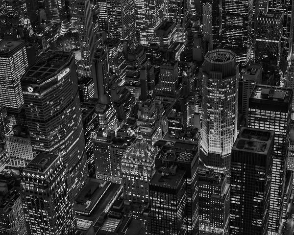 Times Square Poster featuring the photograph Aerial New York City Skyscrapers Bw by Susan Candelario