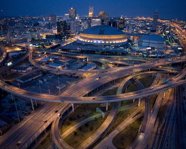 Night Poster featuring the photograph Aerial Of The Superdome In The Downtown by Tyrone Turner