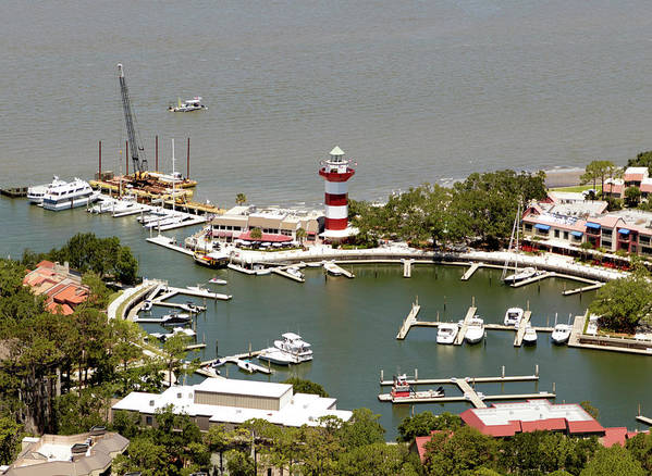 Aerial View Harbour Town Lighthouse In Hilton Head Island Poster featuring the photograph Aerial View Harbour Town Lighthouse In Hilton Head Island by Carol Highsmith
