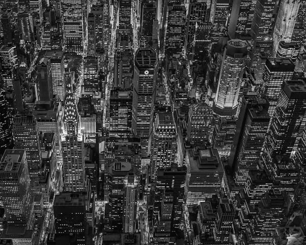 Aerial View Poster featuring the photograph Aerial View Midtown Manhattan Nyc Bw by Susan Candelario