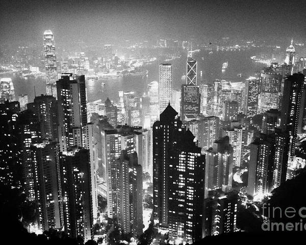 Aerial Poster featuring the photograph Aerial View Of Hong Kong Island At Night From The Peak Hksar China by Joe Fox
