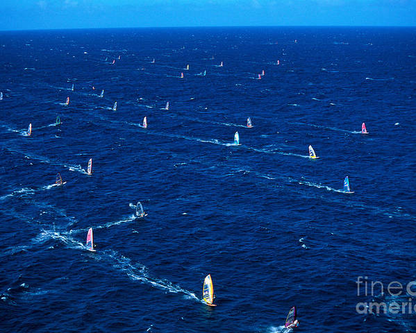 A10g Poster featuring the photograph Aerial View Of Windsurfer by Erik Aeder - Printscapes