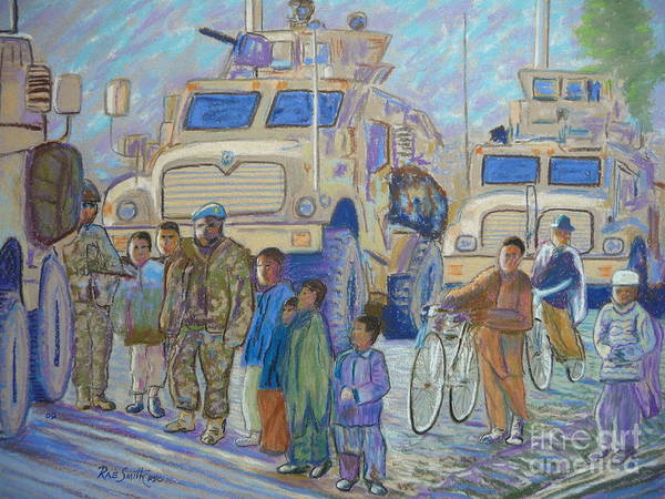 Afghanistan Poster featuring the pastel Afghanistan 2009 by Rae Smith