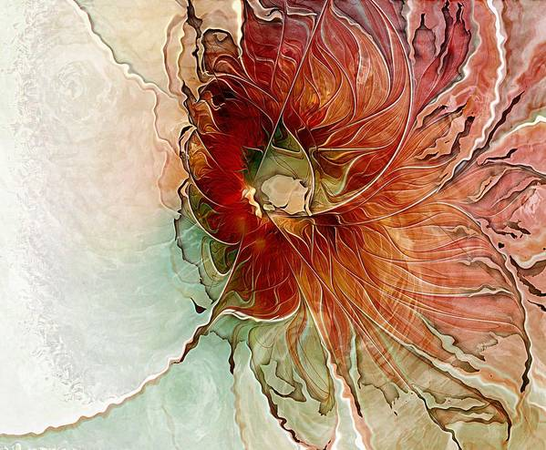Fractal Art Poster featuring the digital art Aflame by Amanda Moore