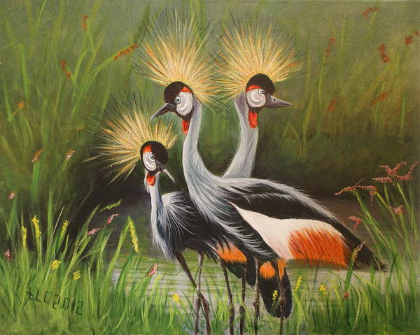 African Crowned Cranes Poster featuring the painting Afrian Crowned Cranes by Theresa Cangelosi