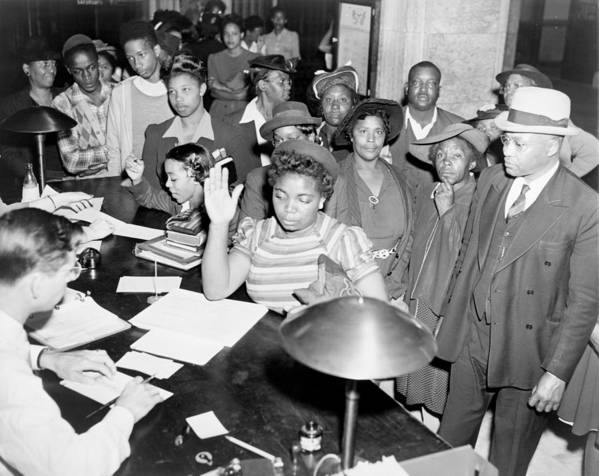 History Poster featuring the photograph African Americans Lined Up To Register by Everett
