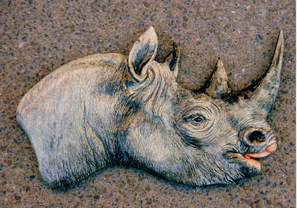 Rhino Poster featuring the sculpture African Black Rhino by Dy Witt