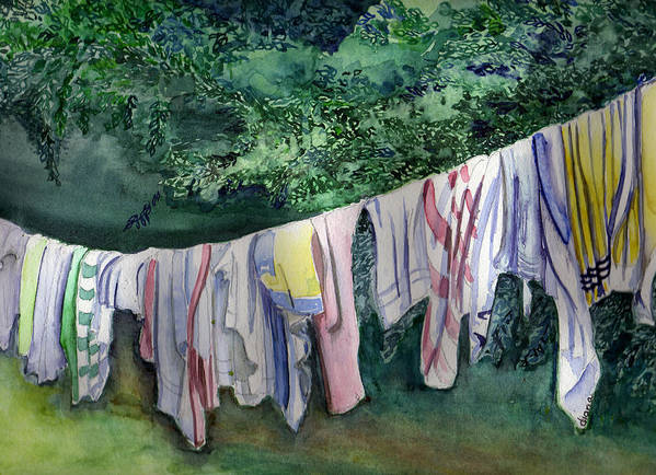 Clothes Poster featuring the painting After A Day At The Beach by Diana Davenport