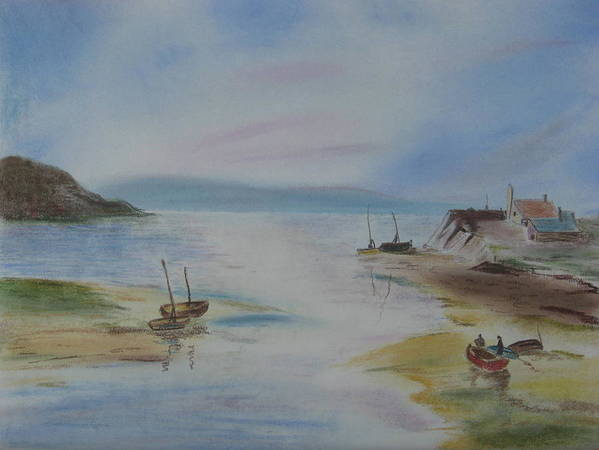 Landscape Poster featuring the pastel After A Day Of Fishing by Diane Larcheveque