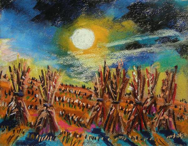 Moon Poster featuring the painting After Harvest Night by John Williams