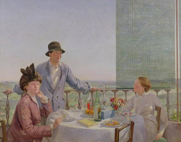 Portrait Poster featuring the painting After Lunch by Gerard Chowne