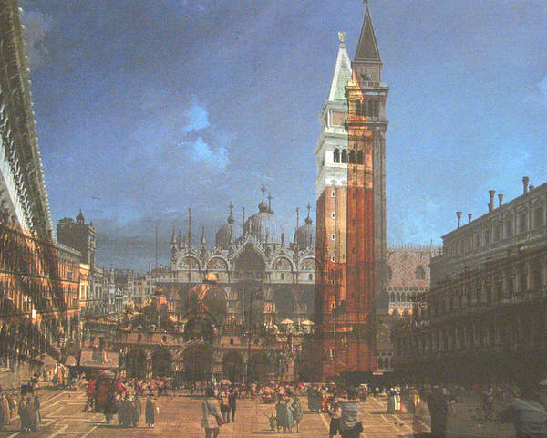 Landscape Poster featuring the painting After St. Mark's Square by Hyper - Canaletto