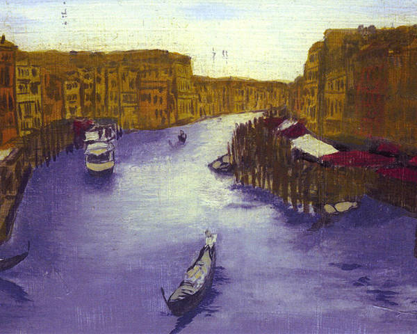 Landscape Poster featuring the painting After The Grand Canal From The Rialto Bridge by Hyper - Canaletto