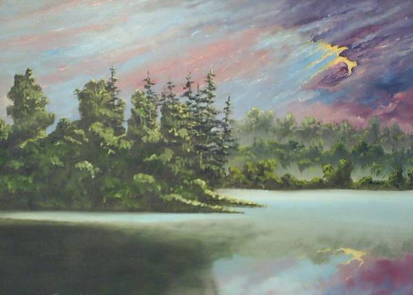 Landscape Poster featuring the painting After The Rain by Dennis Vebert