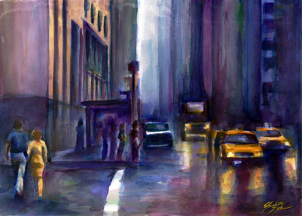 New York City Poster featuring the painting After The Rain by Elizabeth Shrum