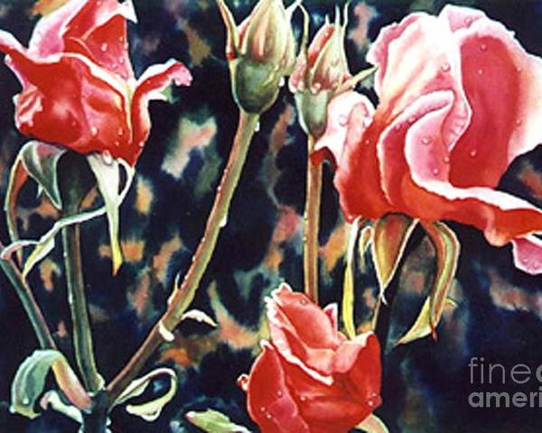 Roses Poster featuring the painting After The Rain by Gail Zavala
