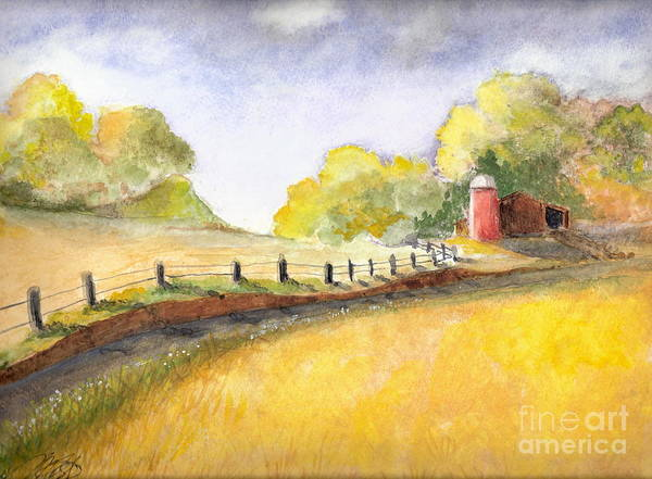Landscape Poster featuring the painting After The Rain by Vivian Mosley