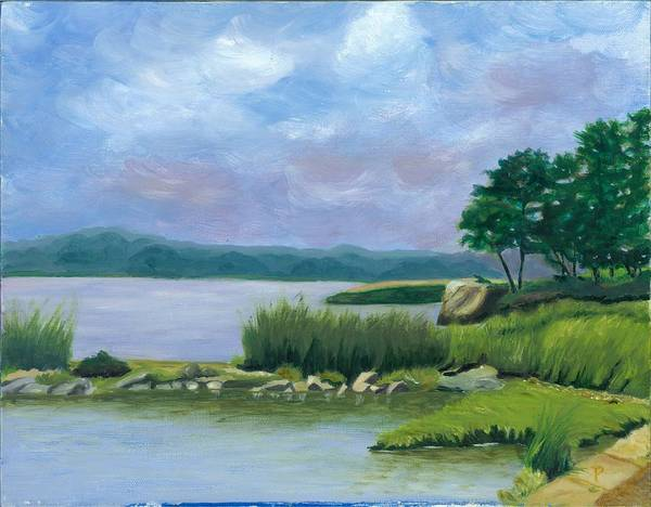 Seascape Poster featuring the painting Afternoon At Pilgrim by Paula Emery