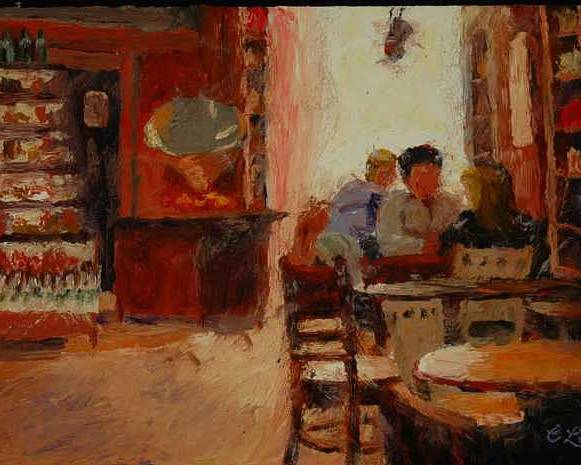 Interior At Coffee Shop Poster featuring the painting Afternoon Espresso by Colleen Murphy