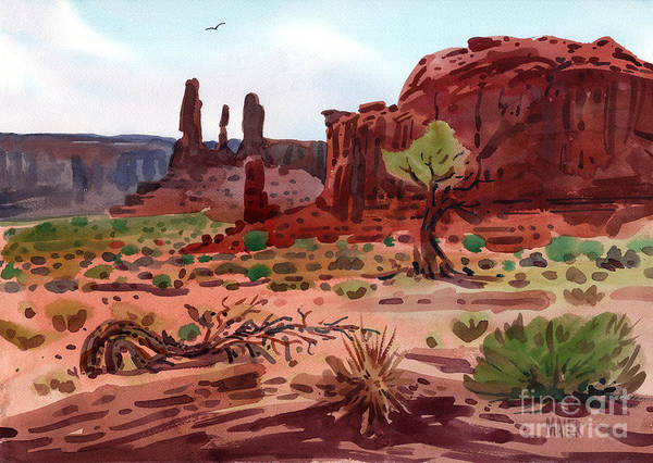 Monument Valley Poster featuring the painting Afternoon In Monument Valley by Donald Maier